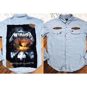 CUSTOM OBEY METALLICA DENIM WESTERN BUTTON UP TEE